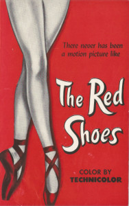 The front panel of the original flyer for the film 'The Red Shoes'.